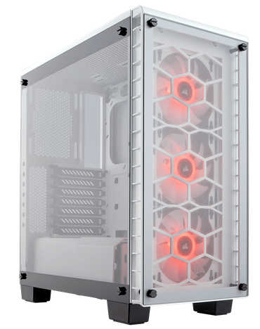 Corsair Crystal Series 460X RGB White ATX Mid-Tower Case with Four-panel tempered glass Window Panel