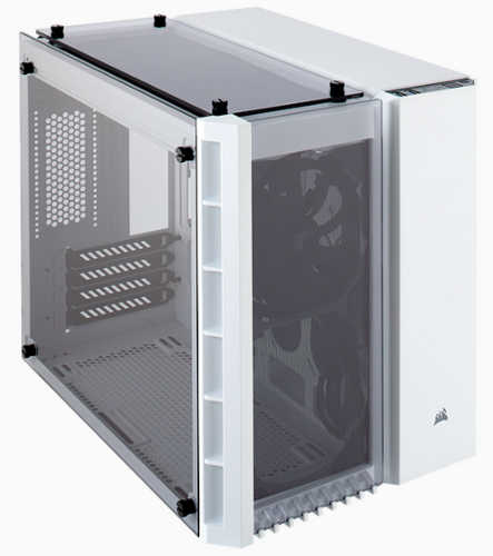 Corsair Crystal Series 280X Tempered Glass White Micro ATX Case with Side Window Panel