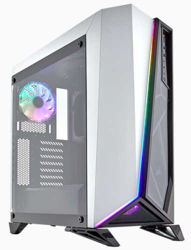 Corsair Carbide Series SPEC-OMEGA RGB Mid Tower Tempered Glass Gaming Case White with Side Window Panel