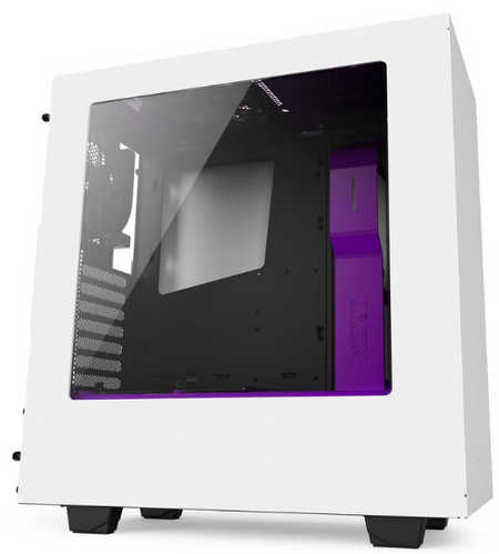 NZXT Source S340 White/Purple USB3.0 Tower Case with Side Window Panel